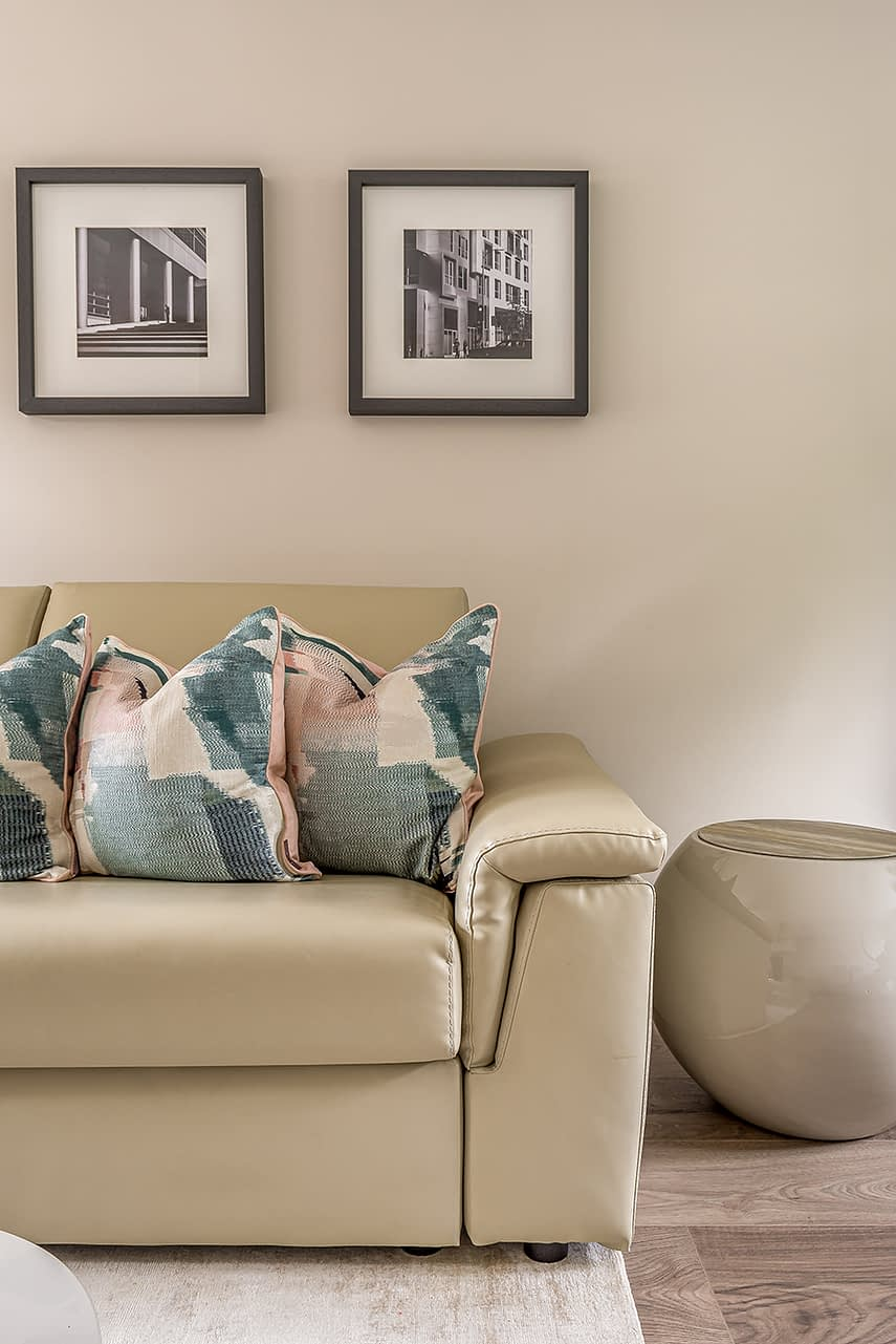 Loughton Interior Design soft furnishing on sofa